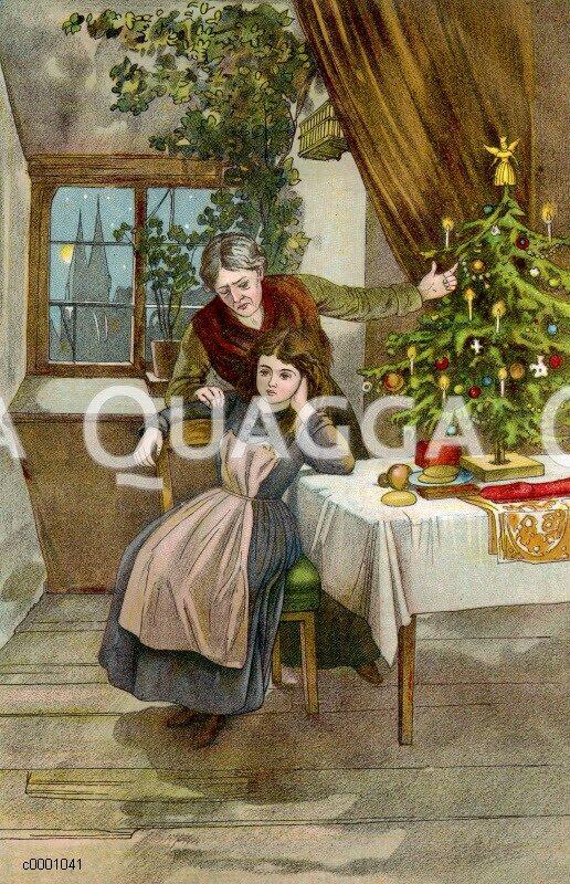weihnachten ltere frau macht jungem m dchen vorhaltungen. Black Bedroom Furniture Sets. Home Design Ideas