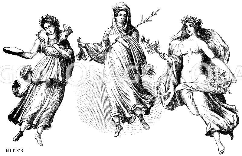 Horen Des Fruhlings Des Sommers Und Des Spatherbstes Nach Einem Pompejanischen Wandgemalde Tochter Des Zeus Und Der Themis Quagga Illustrations