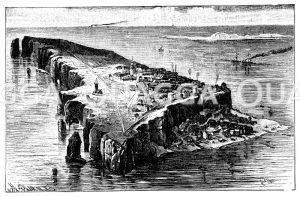 Helgoland, Neujahrsflut, Abbruch Düne Hauptinsel, 300. Jahrestag (1721)