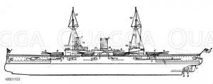 Dampfschiff: Seitenansicht Zeichnung/Illustration