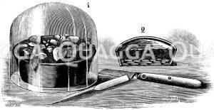 Mit Glasglocke bedeckte Stecklingsschale (links); Durchschnitt durch die Schale (rechts); Steckholz und Stecklingsmesser (unten) Zeichnung/Illustration