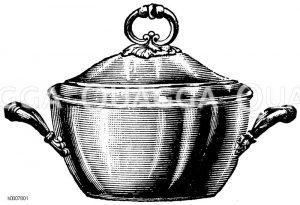 Gebauchte Fleischpuddingform mit verzierten Henkeln Zeichnung/Illustration