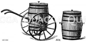 Wasserwagen zum Auswechseln der Fässer Zeichnung/Illustration