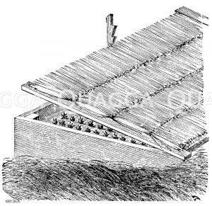 Mit Strohdecke gedecktes Mistbeet Zeichnung/Illustration