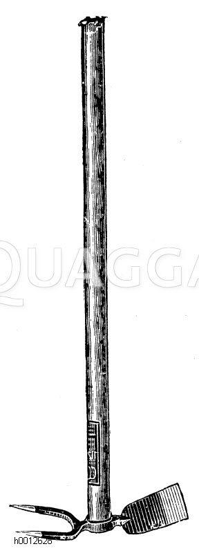 Hacke mit Krail (Karst) aus Eisen Zeichnung/Illustration