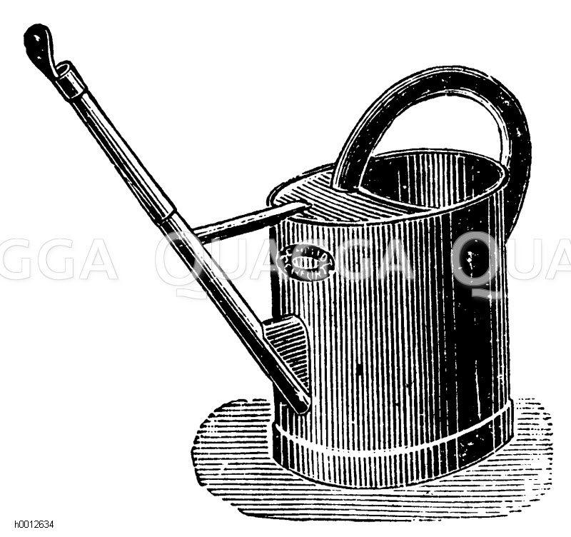 Ovale Gießkanne mit Wasserverteiler Zeichnung/Illustration