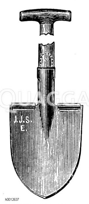 Stahlspaten mit Trittleisten für schweren Boden Zeichnung/Illustration