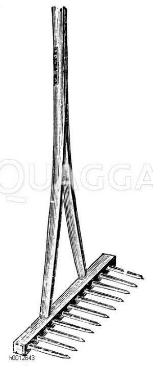 Starke Holzharke mit eisernen Zinken Zeichnung/Illustration