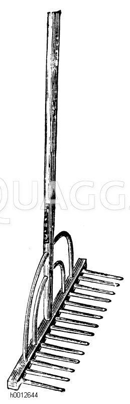 Hölzerne Harke (Rechen) Zeichnung/Illustration