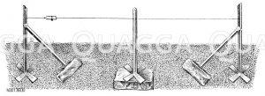 Eisernes Gerüst für Kordonbäume Zeichnung/Illustration