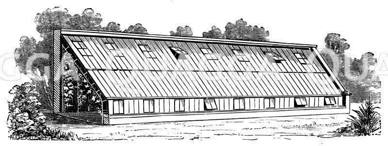 Gewächshaus zur Obsttreiberei (mit möglichst ausgiebieger Lüftung) Zeichnung/Illustration