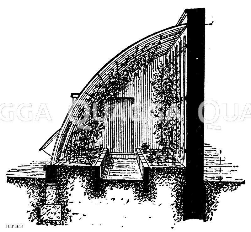 Innere Ansicht eines Weinhauses mit bogenförmigem Dach Zeichnung/Illustration