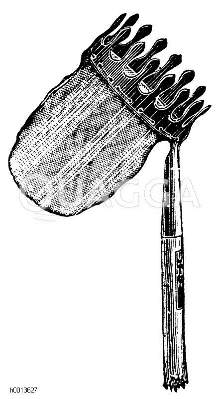 Obstpflücker mit Beutel zum Auffangen der Früchte Zeichnung/Illustration