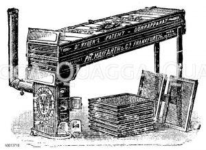 Kleiner Dörrapparat mit schrägliegendem Dörrschacht Zeichnung/Illustration