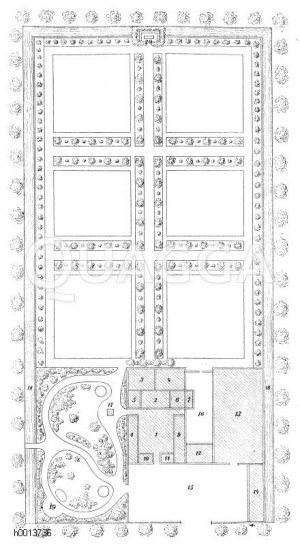 Plan eines Gemüsegartens mit Sechsfelderwirtschaft Zeichnung/Illustration