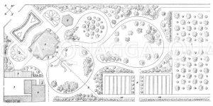 Plan einer Obstanlage im landschaftlichen Stil verbunden mit extensivem Obstbau Zeichnung/Illustration