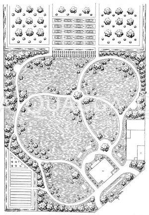 Villengarten mit Obstplantage Zeichnung/Illustration