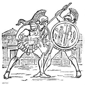 Gerüstete Krieger Zeichnung/Illustration