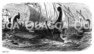Griechische Schiffe in der Schlacht bei Salamis Zeichnung/Illustration
