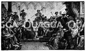 Luther auf dem Reichstag zu Worms. Nach dem Wandgemälde von H. Wislicenus im Kaiserhaus zu Goslar. Nach einer Photographie im Verlag von Julius Brumby in Goslar Zeichnung/Illustration