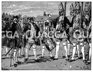Lange Kerle. Riesengarde. Der alte Dessauer rechts vom König. Mohr als Trommler Zeichnung/Illustration