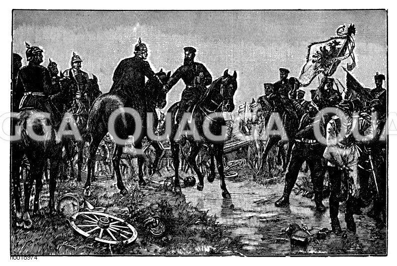 K;nig Wilhelm und sein Sohn am Abend nach der Schlacht bei Königgrätz. Nach dem Gemälde von E. Hünten in der Ruhmeshalle zu Berlin Zeichnung/Illustration