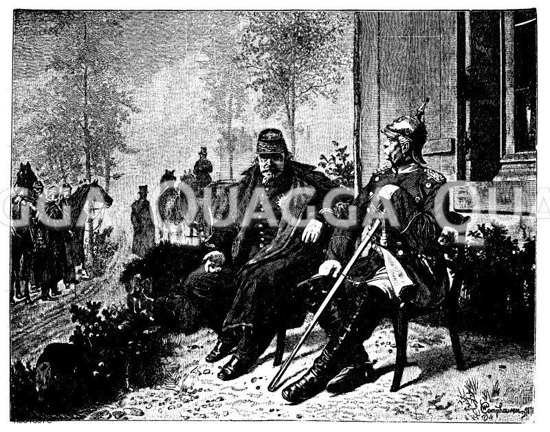 Bismarck und Napoleon. Nach dem Gemälde von W. Camphausen. Mit Genehmigung der Photographischen Gesellschaft in Berlin Zeichnung/Illustration