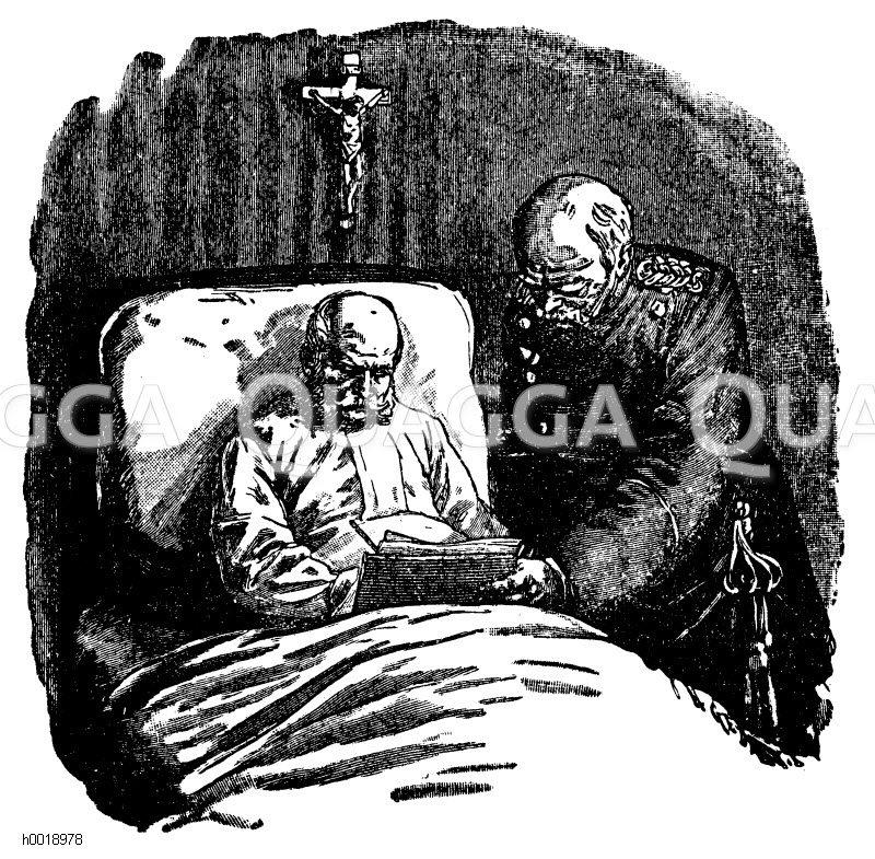 Kaiser Wilhelm I. letzte Unterschrift Zeichnung/Illustration