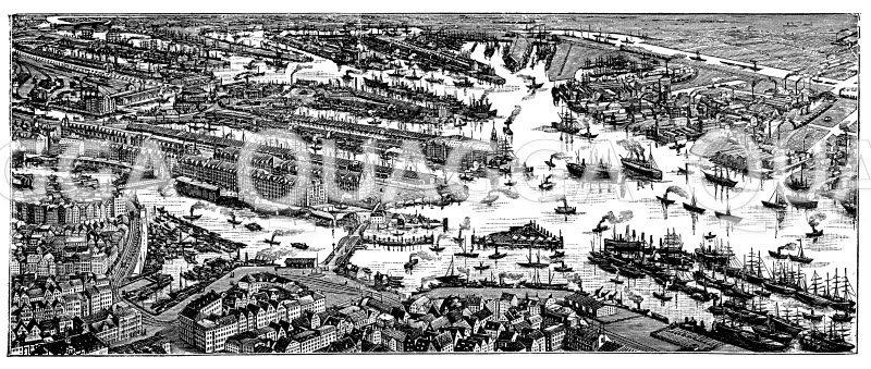Hafen von Hamburg. Nach dem Gemälde von Ernst Hasmert Zeichnung/Illustration