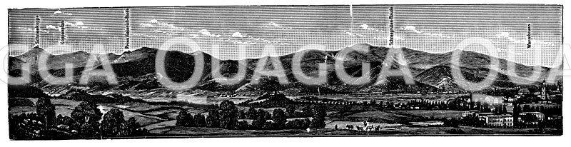 Panorama des Riesengebirges bei Warmbrunn Zeichnung/Illustration