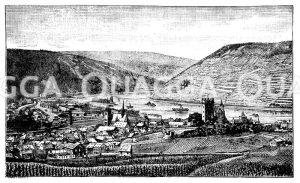 Rheintal bei Bingen Zeichnung/Illustration