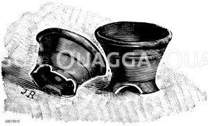 Flache Orchideentöpfe Zeichnung/Illustration