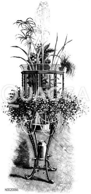 Aquarium mit Springbrunnen und Pflanzenkultur Zeichnung/Illustration