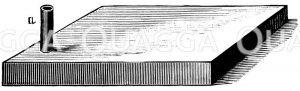 Wärmflasche für heizbares Terrarium mit Einfüll- und auf dem Bild nicht sichtbarem Ablaufrohr Zeichnung/Illustration