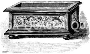 Eleganter Fensterholzkasten für Hyazinthentöpfe Zeichnung/Illustration
