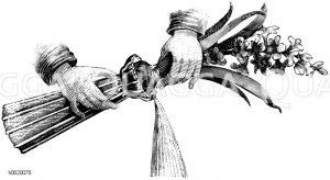 Hyazinthenglas mit Rillen zum Ausgießen des Wassers Zeichnung/Illustration