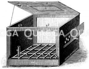Aus einer Kiste hergestelltes heizbares Terrarium. a) Einfüllrohr