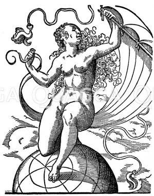 Das Weib lenkt den Lauf der Welt. Deutscher Holzschnitt des 16. Jahrhunderts Zeichnung/Illustration