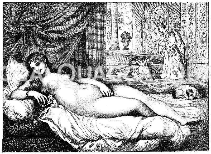 Die schöne Herrin. Kupferstich von Th. Rowlandson nach einem Gemälde von Tizian Zeichnung/Illustration