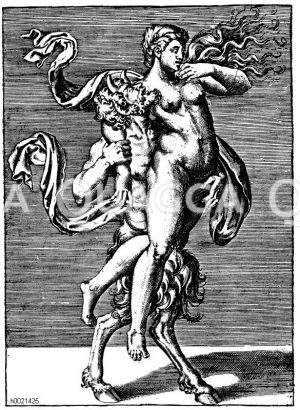Faun raubt eine Nymphe. Italienischer Kupferstich aus dem 16