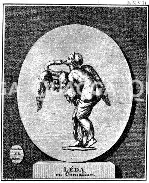 Leda und der Schwan. Kupferstich nach einer antiken Gemme Zeichnung/Illustration