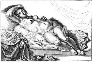 In Erwartung. Französischer Kupferstich des 16. Jahrhunderts Zeichnung/Illustration