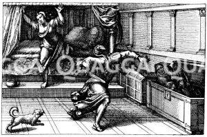Strafe des Ehebrechers. Deutscher Kupferstich um 1580 Zeichnung/Illustration