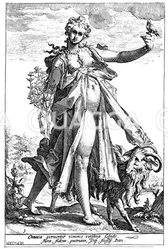 Symbolisierung der Lüsternheit. Deutscher Kupferstich von H. Goltzius aus dem 17. Jahrhundert Zeichnung/Illustration