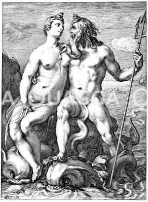 Neptun und Galatea. Holländischer Kupferstich von Hendrik Goltzius um 1600 Zeichnung/Illustration