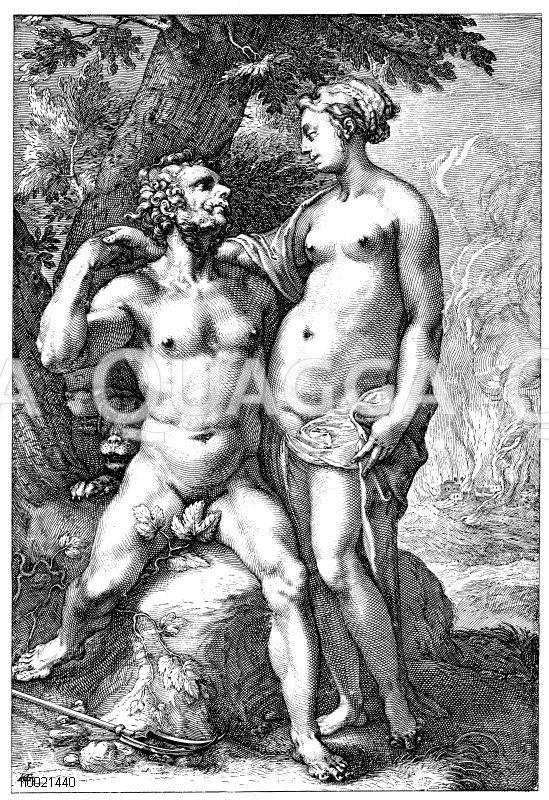 Der verliebte Aktäon. Holländischer Kupferstich von Hendrik Goltzius um 1600 Zeichnung/Illustration