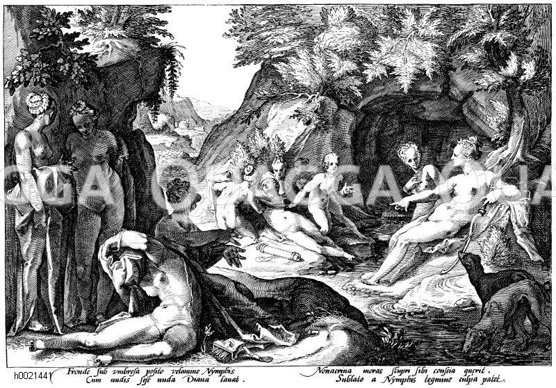 Diana und die schwangere Nymphe Callypso. Holländischer Kupferstich um 1600 Zeichnung/Illustration