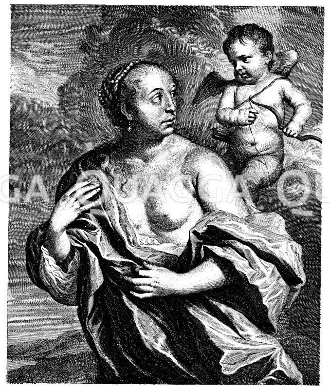 Venus und Cupido. Holländischer Kupferstich von Cornelis von Dalen nach G. Flinck um 1670 Zeichnung/Illustration