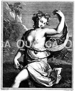 Bacchantin. Französischer Kupferstich von L. Desplaces nach L. Fouché um 1730 Zeichnung/Illustration