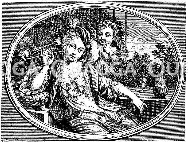 Die Liebe entzündet ihre Phantasie. Anonymer holländischer Kupferstich um 1700 Zeichnung/Illustration